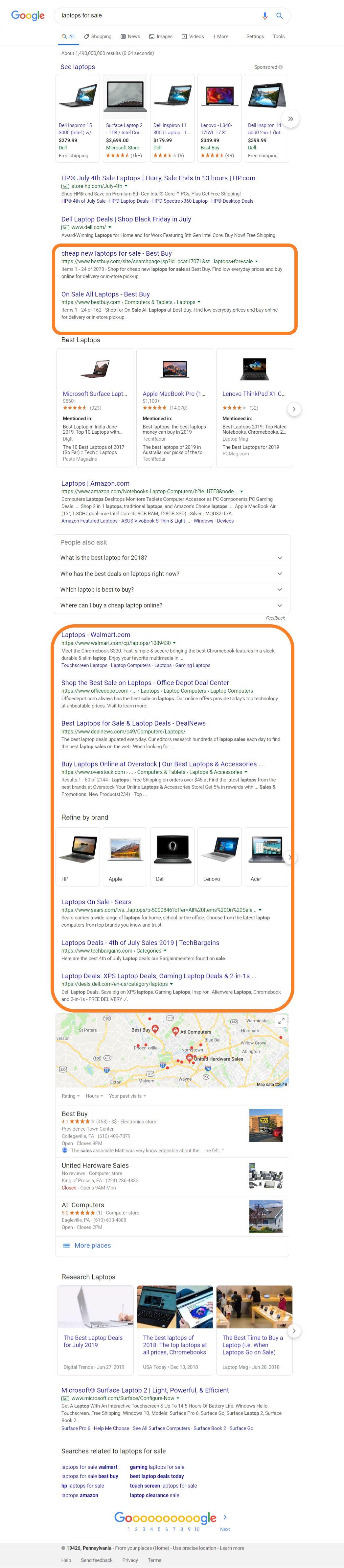 ecommerce seo serp google