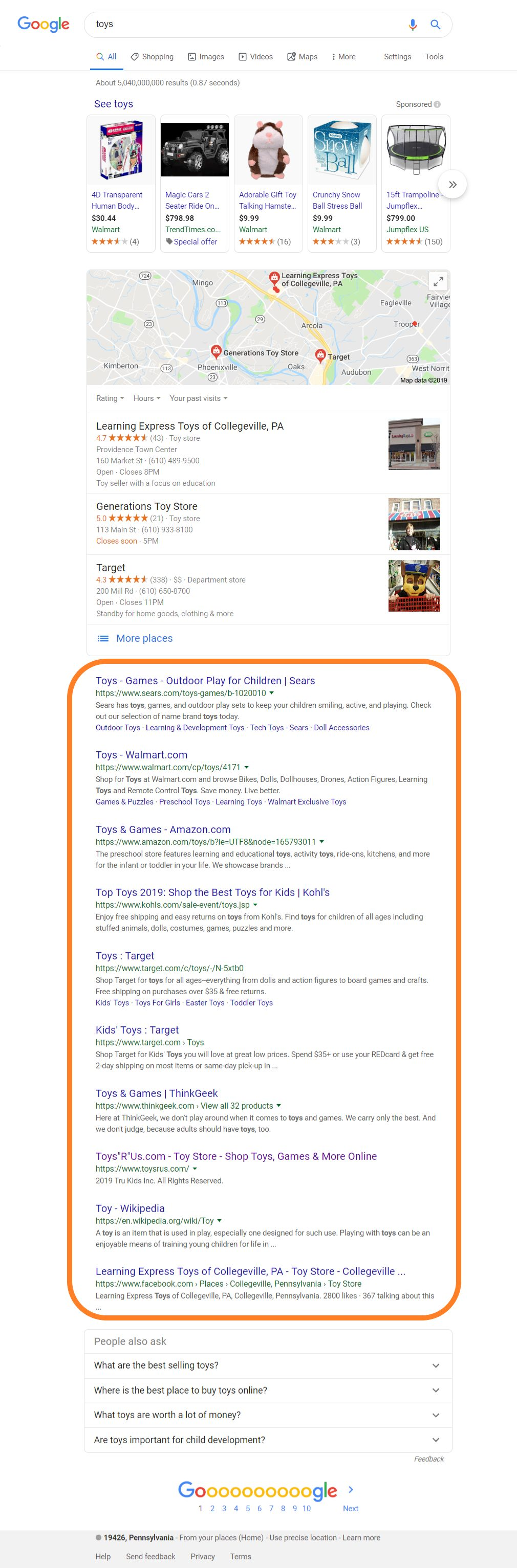 global seo toys result