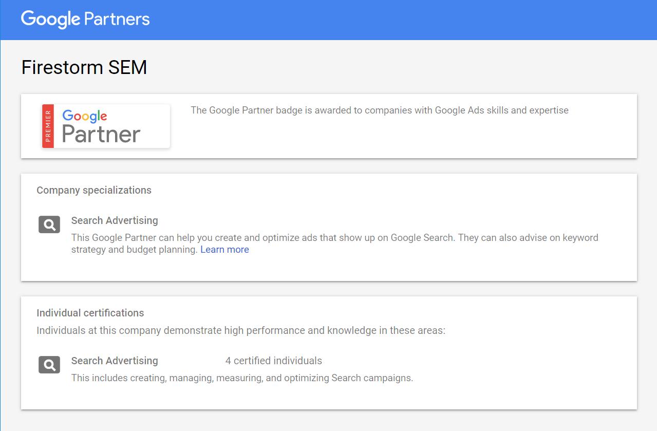google premier partner profile